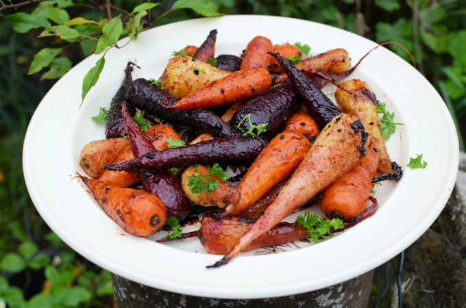 Roast Chantenay Carrot Medley with Pomegranate Molasses and Garlic