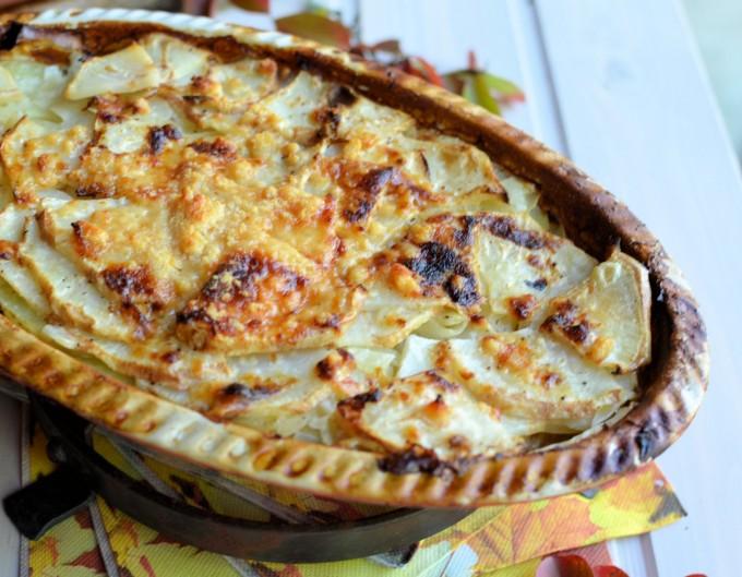 Celeriac, Cheese & Potato Gratin