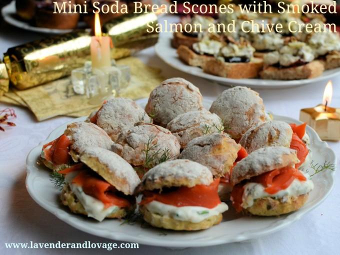 Mini Soda Bread Scones with Smoked Salmon and Chive Cream
