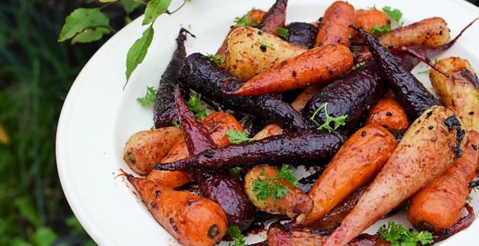 British Carrots: Sticky Roast Chantenay Carrot Medley with Pomegranate Molasses