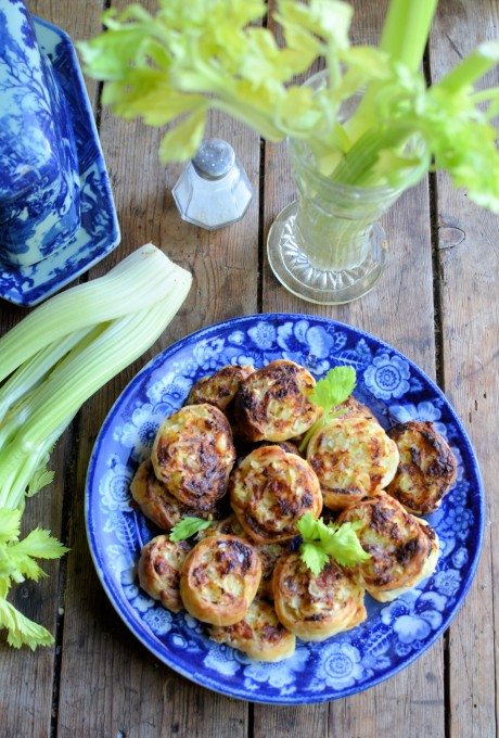 Christmas Party Canapés! Cheese and Celery Pinwheels (Whirls)