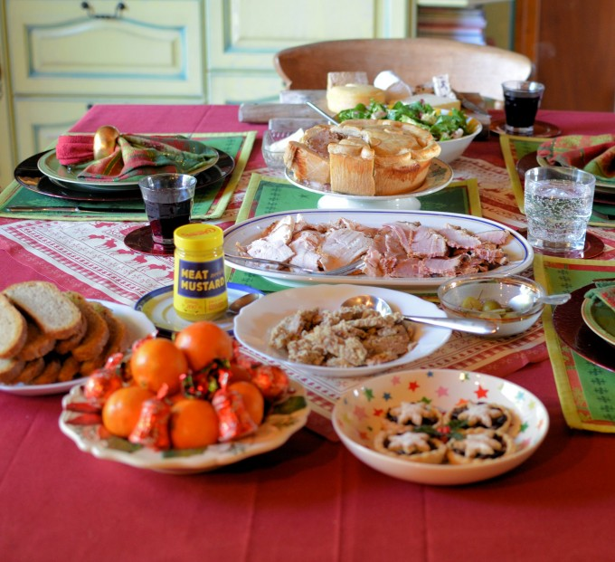 Leftovers Table - Cold Cuts, Cheese, Mince Pies, Turkey and Ham Pie, Salad and Fruit