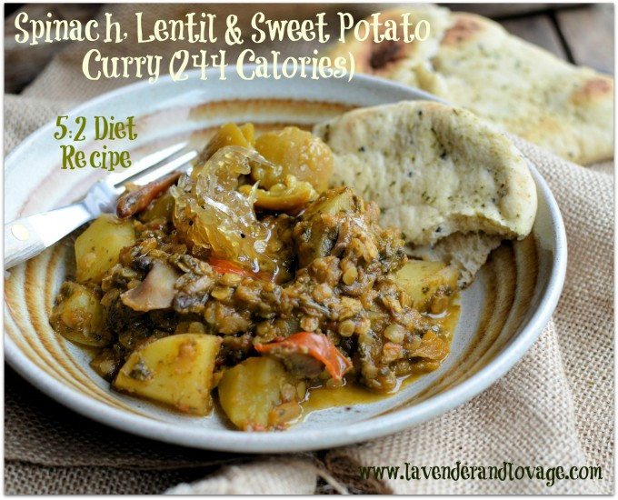 Spice Up your New Year 5:2 Diet Weight Loss! Spinach, Lentil & Sweet Potato Curry (244 Calories)