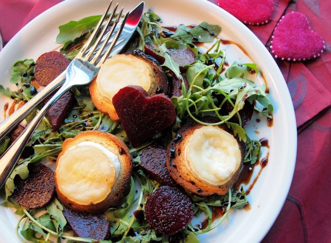 Romance, Chocolate, Vanilla & Beetroot! Hot Chèvre & Beetroot Salad with Chocolate and Vanilla Balsamic Drizzle