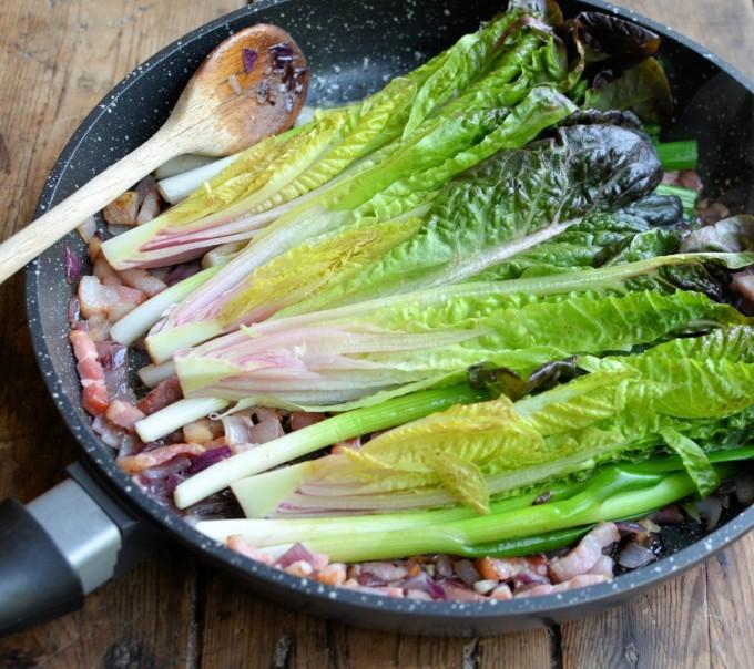 Braised Peas and Lardons with Spring Onions