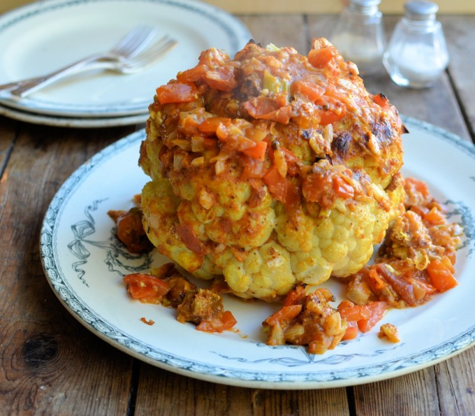 Whole Roasted Cauliflower in a Spicy Mexican Sauce