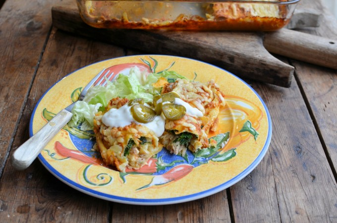 Two Cheese, Chicken and Kale Enchiladas