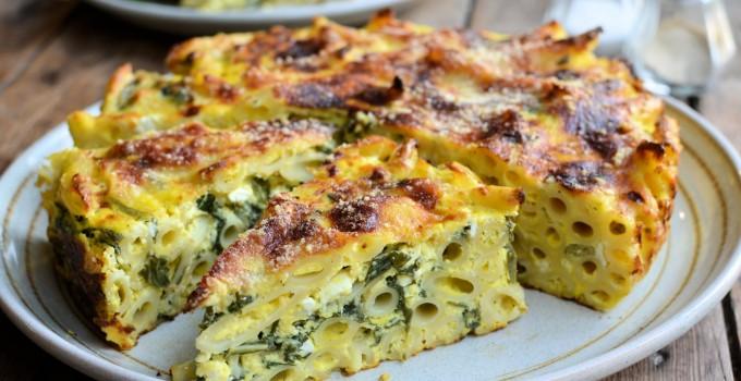 A Vegetarian Light Lunch: Three Cheese and Swiss Chard Pasta Bake Cake