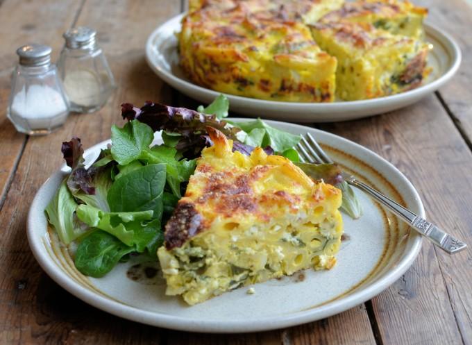 Vegetarian Light Lunch: Three Cheese and Swiss Chard Pasta Bake Cake