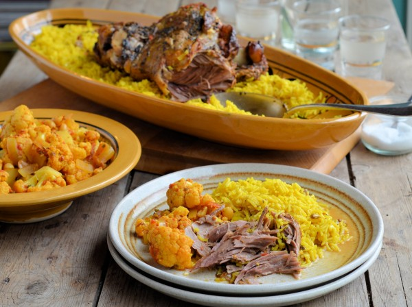An exotic slow roasted lamb recipe, in the style of Persian and North African food, served with aromatic saffron rice. Perfect for Sunday lunch or any special celebratory meal. The left overs can be made into more exciting meals, such as curry, tagine and spicy shepherd's pie.  (Recipe inspired by Silvena Rowefollow)