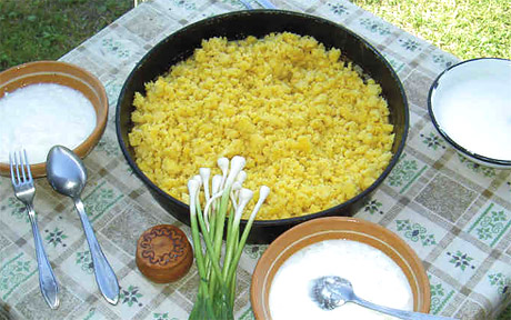 Kacamak  (Polenta made from wheat, buckwheat, barley or corn meal and served with cheese or sour milk)