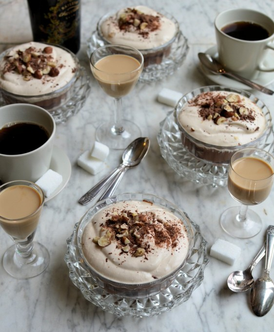 Baileys Double Chocolate Mousse with Toasted Hazelnuts and Baileys Cream