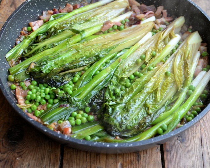 Braised-Ruby-Gem-Lettuce-with-Spring-Onions-Lardons-Peas-and-Creme-Fraiche