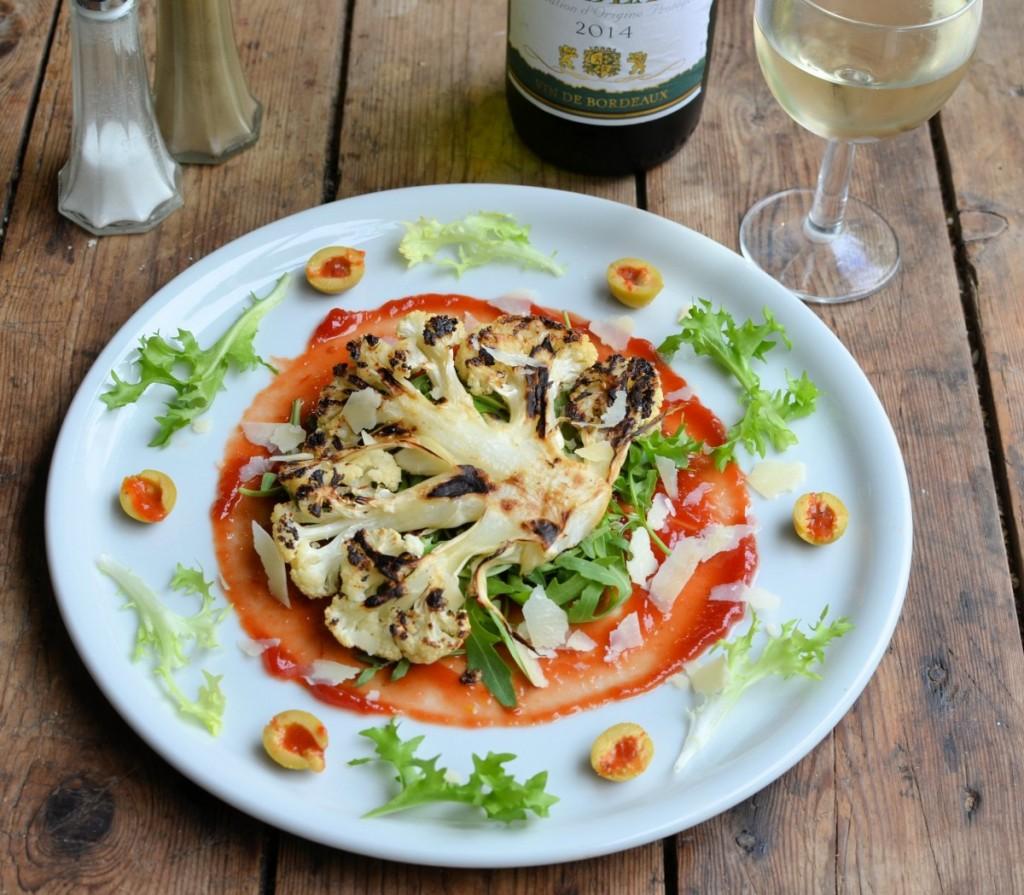 52 Diet Recipe Cauliflower Steaks With Grana Padano Cheese Olives Greenfields Yogurt Mango 125g And Rocket Leaves