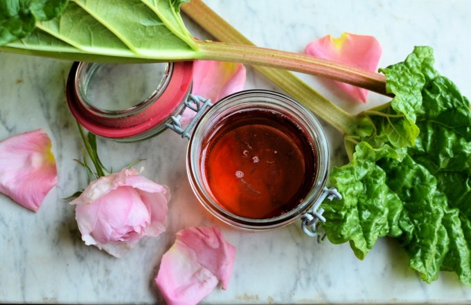 Rhubarb, Rose & Strawberry Syrup for Cocktails and Cordials