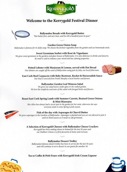 Kerrygold Ballymaloe Lit Fest Festival Dinner