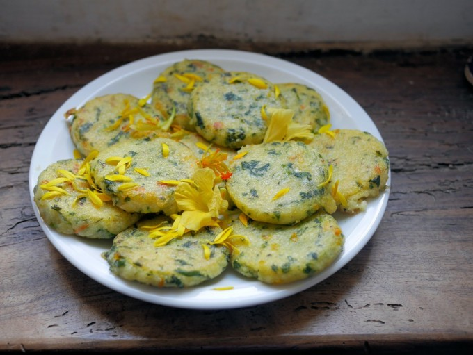Polenta and Nettle Fritters with Marigold