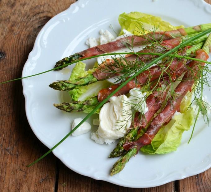 Green Gem Asparagus: Serrano Wrapped Asparagus With Baby Gem Lettuce, Bronze