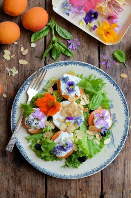Provençal Stuffed Apricot & Goat's Cheese Salad with Edible Flowers
