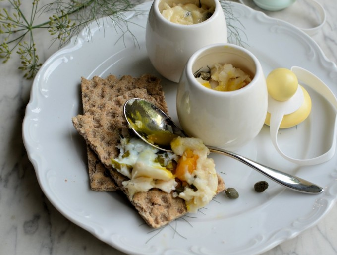 Cheesy Coddled Eggs with Smoked Fish, Sorrel & Dill