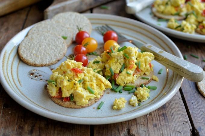 A Simple Breakfast Scrambled Eggs On Oatcakes