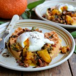 Cornmeal Waffles with Eggs, Bacon, Sage & Pumpkin