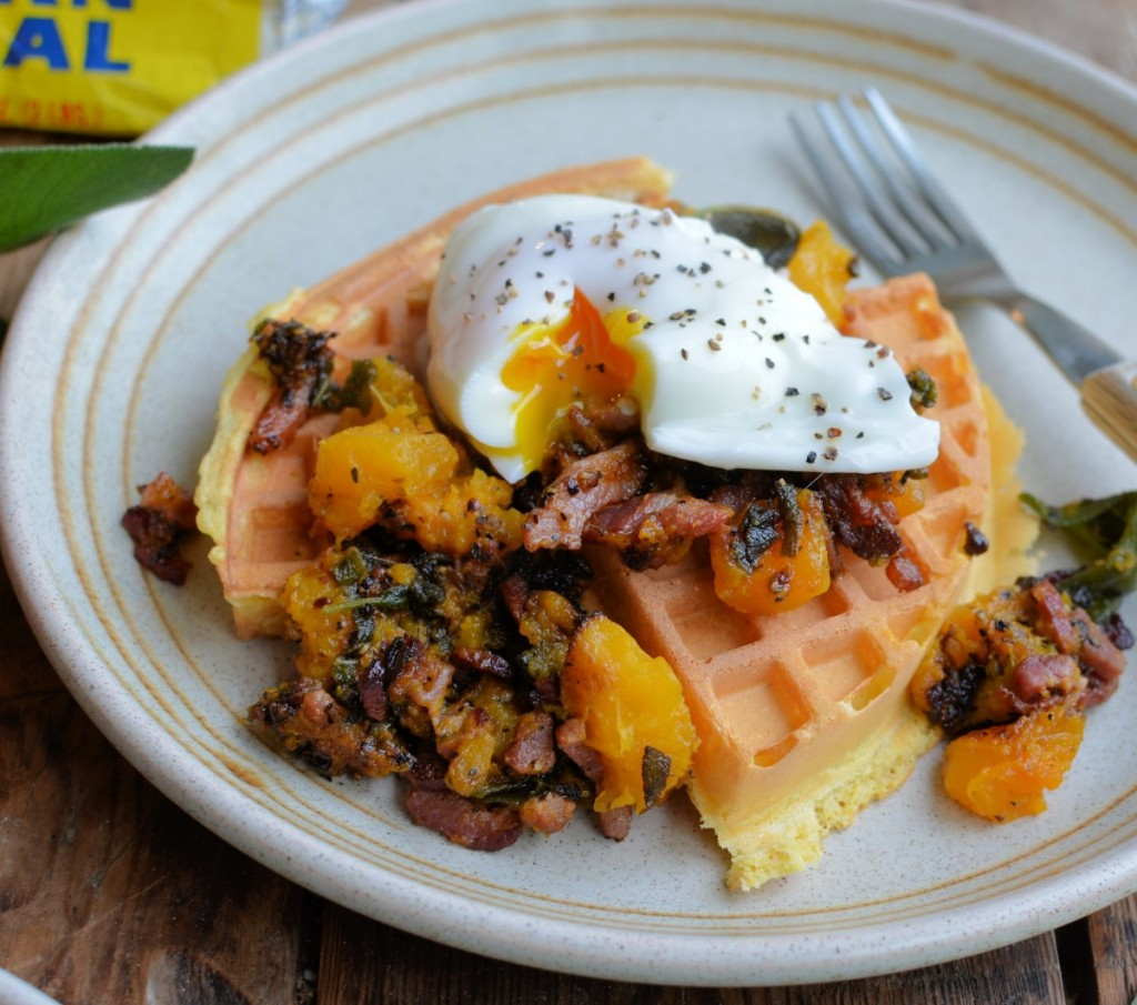 Cornmeal Waffles with Poached Eggs