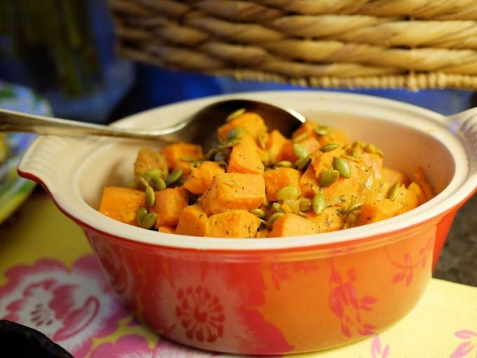 Sweet Potato Salad with Pumpkin Seed, Onion & Lime