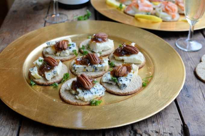 Blue Cheese and Pecan canapes