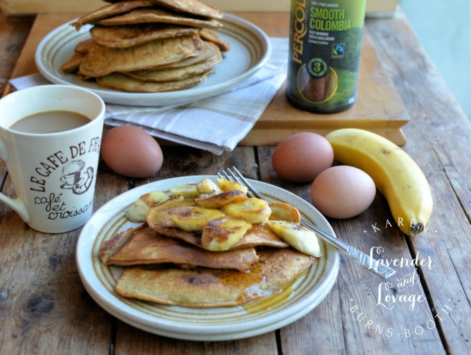 Cappuccino Pancakes with Bananas for Breakfast Week