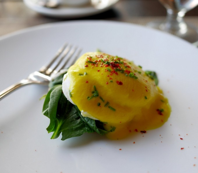 "Kevin's signature dish of POACHED EGG WITH VEGETABLE ""HOLLANDAISE"" SAUCE"