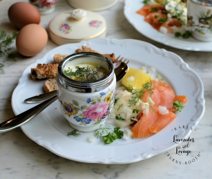 Coddled Eggs with Smoked Salmon & Dill - Lavender and Lovage