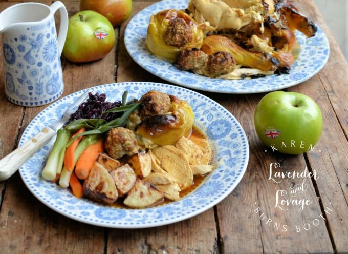 Savoury Sausage and Sage Baked Apples with Roast Chicken