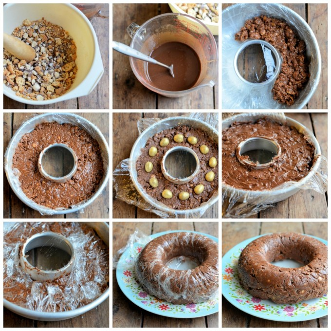 Step by Step No Bake Creme Egg & Malteser Chocolate Tiffin Bundt Cake