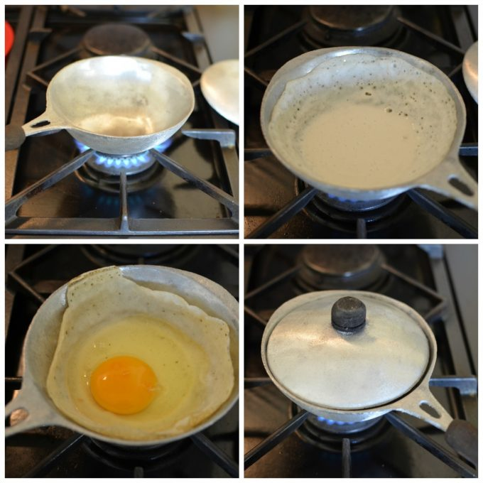 Step by step how to make egg hoppers
