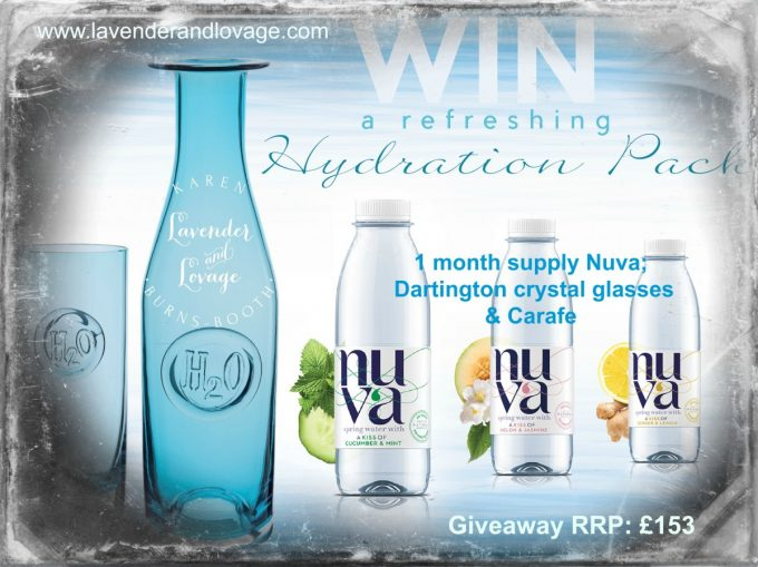 Month supply NUVA Water, 2 x H2O highball glasses, 1 litre Darlington Crystal Carafe