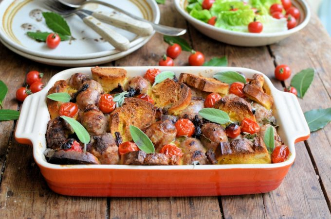 Overnight Sage and Sausage Breakfast or Supper Bake