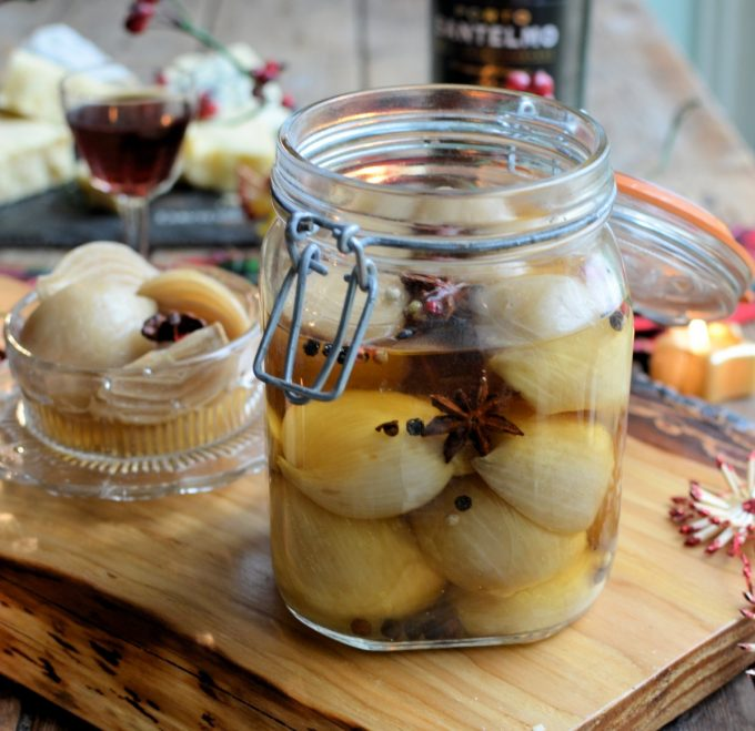 Pickled Shallots with Mixed Peppercorns and Star Anise in Cider Apple Vinegar