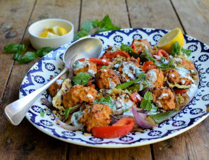 WW Chicken Mergeuz Meatballs with Couscous and Griddled Vegetables