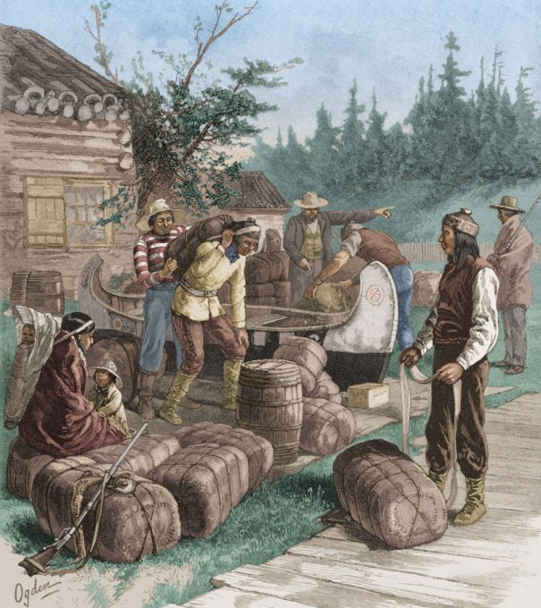 Description English: Indians trade furs at a Hudson's Bay Company trading post in the 1800's. Date 26 September 2013, 15:55:26 Source Historic image from the Hulton Archive Author Unknown artist from 1800 According to Getty Images