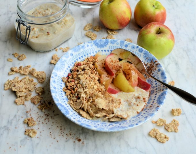 Bircher Breakfast Bowl with Spiced Apples and Granola Crumble