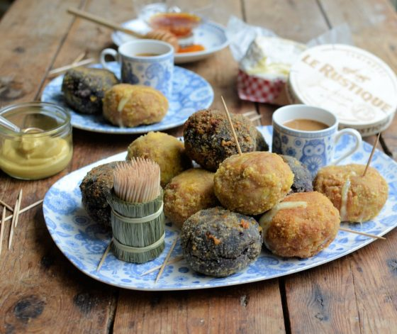 Le Rustique Camembert Scotch Eggs Two Ways with Honey and Mustard Dip
