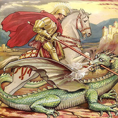 St George & The Dragon  The medieval legend of St George and the dragon is over a thousand years old. The tale goes that the dragon made it's nest by the fresh water spring near the town of Silene in Libya. When people came to collect water, they inadvertently disturbed the dragon and so offered sheep as a distraction.  After time, there were simply no sheep left to offer the dragon and so the people of Silene decided to chose a maiden from the town by drawing lots. When the results were read, it was revealed that the princess was to be the dragon's next victim. Despite the Monarch's protest his daughter Cleolinda was offered to the dragon...  However, at the moment of offering, a knight from the Crusades came riding by on his white stallion. St George dismounted and drew his sword, protecting himself with the sign of the cross. He fought the dragon on foot and managed to slay the beast and saved the princess. The people of Silene were exceptionally grateful and abandoned their pagan beliefs to convert to Christianity.