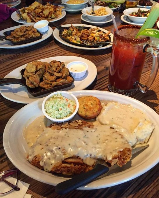 Chicken fried steak with Bloody Mary