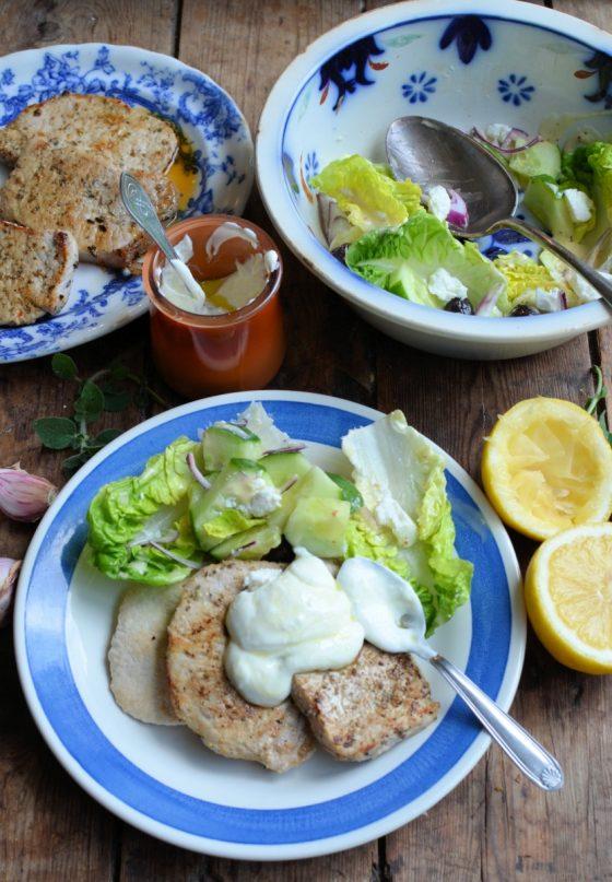 Greek Style Pork Steaks with Garlic Yogurt Sauce