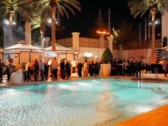 The dramatic five-acre Garden of the Gods Pool Oasis at Caesars Palace Las Vegas Hotel & Casino featured more than fifty award-winning chefs and over one hundred of the best wines and spirits from around the world
