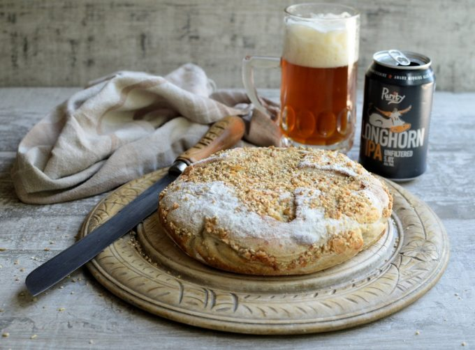 "Beer and Cheese Bread in a Crock - Delicious ""no knead"" artisan style bread made in a cast iron crock, using a fabulous unfiltered rye IPA & Vintage Cheddar; the recipe is based on my ever popular ""Our Daily Bread in a Crock – Weekly Make and Bake Rustic Bread""."