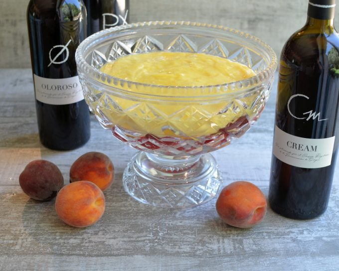 Peach Melba Sherry Trifle