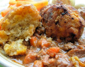 Beef & Carrot Stew with Herb Crusted Dumplings