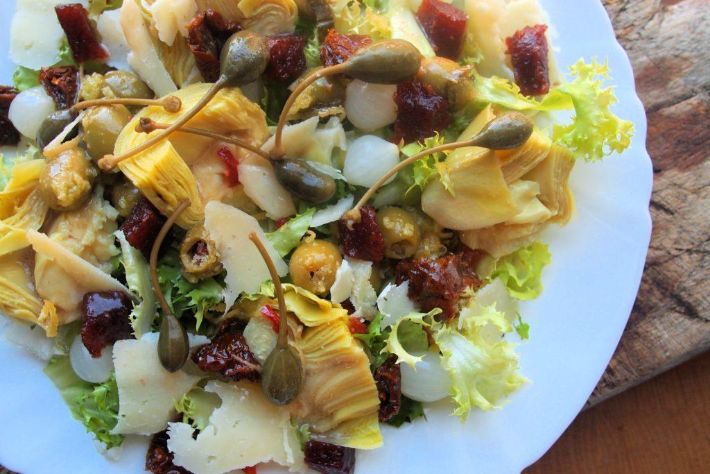 Frisée Salad With Artichoke Hearts, Membrillo, Manchego